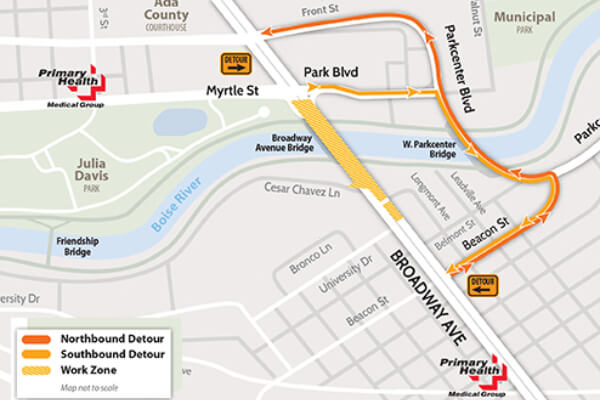 map of the Broadway bridge project, Boise, Primary Health locations open through construction