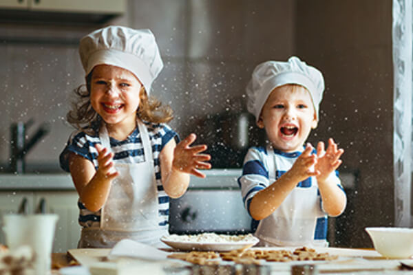 young children making pies, after flu vaccine